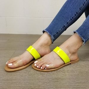 Neon Yellow & Clear Strap Flat Summer Sandals -M